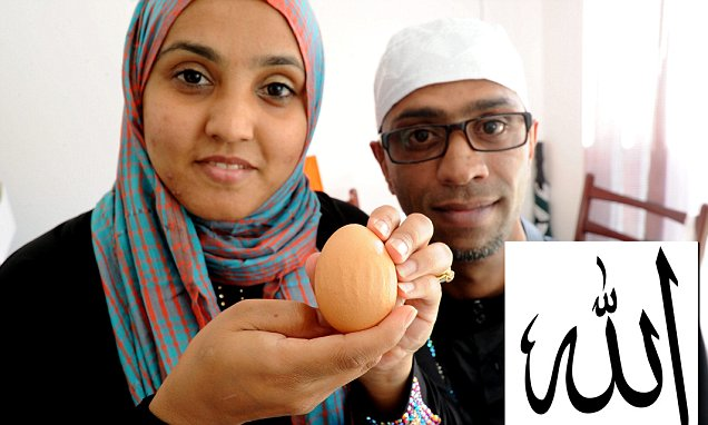 "Farid and Anisa Jussab bought some eggs from Iceland and one of them, they say, is inscribed with the name of Allah. Pictured are (l-r) Anisa and Farid with the egg. A Muslim couple were amazed to find an egg with the name of Allah embossed on it. See NTI story NTIEGG;  Farid Jussab, 37, of Belgrave, Leicester, said his outlook had been rocked by the discovery of the phrase ""None to be worshipped except Allah"" in Arabic. ""I can't sleep. I feel I have to let people know,"" he said. ""I'm not the sort of man who prays five times a day and this is amazing. ""I'm going to keep the egg forever."" Farid's wife Anisa, was the first one to notice the marks on the egg."