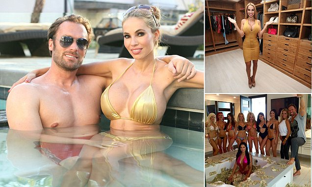 ***HOLD FOR KEITH POOLE*** LOS ANGELES, CA - MARCH 16: Bastian Yotta and Maria Yotta in the pool at their Beverly Hills mansion on March 16, 2015 in Los Angeles, California. Bastian and Maria Yotta caused a stir after Instagram images of their decadent ëPlayboy mansioní lifestyle emerged. The pictures boasted of a life filled with charged pool parties, super cars and ten thousand dollar shopping sprees. Exclusive access to the flashy couple at their $10,000 a month home in Beverly Hills reveals their online persona was no exaggeration and their $100,000 a month lifestyle is as large as it appears. Multi-millionaire Bastian told how they were hounded out of Germany for being too flashy, saying people would spit on their Ferrari and sneer at Mariaís large breasts. PHOTOGRAPH BY Ruaridh Connellan / Barcroft USA UK Office, London. T +44 845 370 2233 W www.barcroftmedia.com USA Office, New York City. T +1 212 796 2458 W www.barcroftusa.com Indian Office, Delhi. T +91 11 4053 2429 W www.barcroftindia.com