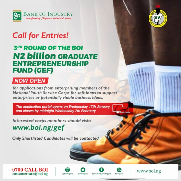 NYSC Member with a Great Business Idea? Apply for Bank of Industry's N2 Billion Graduate Entrepreneurship Fund